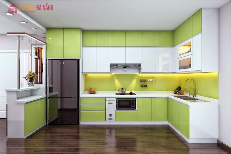 Chất liệu acrylic làm tủ bếp rất sang trọng